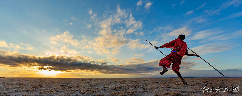 Maasai Tribesman throwing a spear in Amboseli National Park, Kenya, Africa, Michael Scott Lees fine art photographic prints