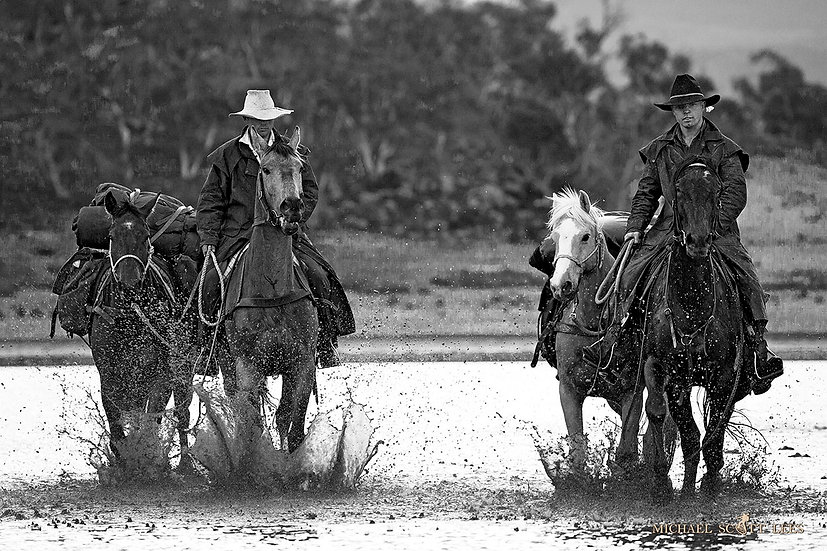 Horse riders at Lake Jillamatong, Snowy Mountains, Australia. Fine Art Photography Prints for Sale by Michael Scott Lees phot