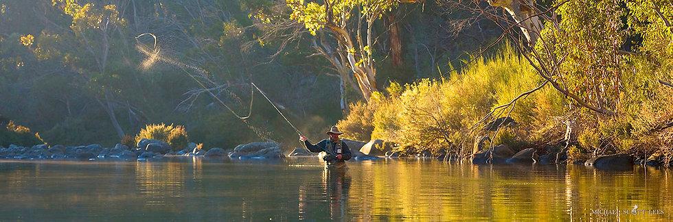 Fly fishing on the Snowy River, near Mt Kosciuszko, Australia. Fine Art Photography Prints for Sale by Michael Scott Lees