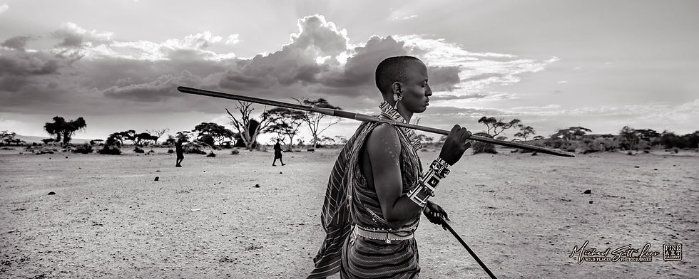 Maasai Tribesman in Amboseli National Park, Kenya, Africa, Michael Scott Lees fine art photographic prints for sale