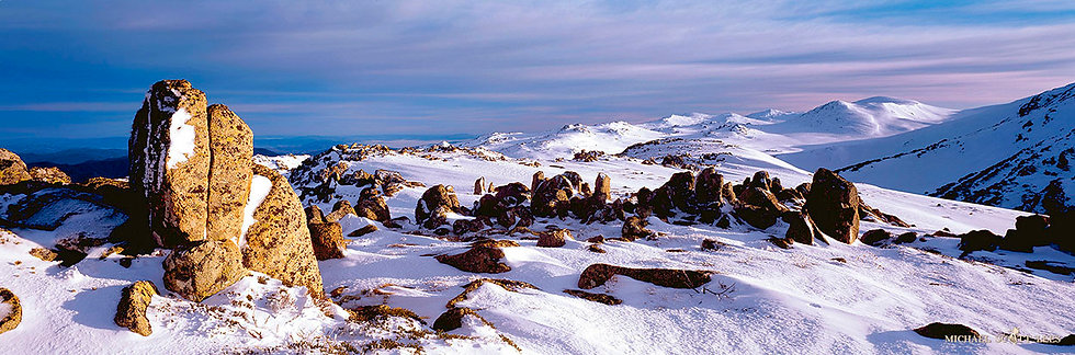 Main range view with rocks and snow in Kosciuszko National Park, Australia. Fine Art Photography Prints for Sale by Michael S