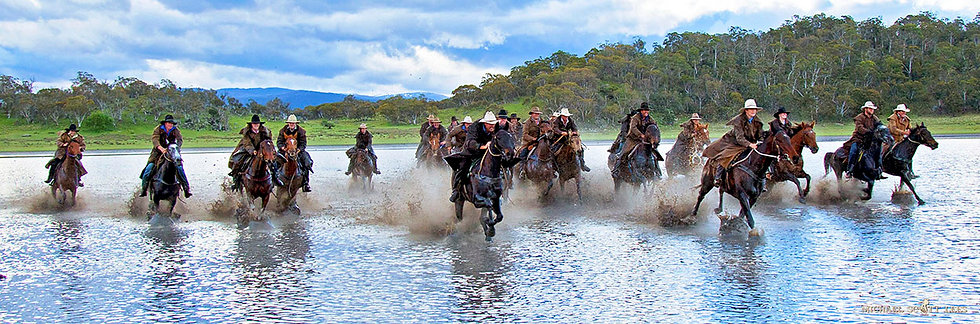 Horse riders at Lake Jillamatong, Snowy Mountains, Australia. Fine Art Photography Prints for Sale by Michael Scott Lees