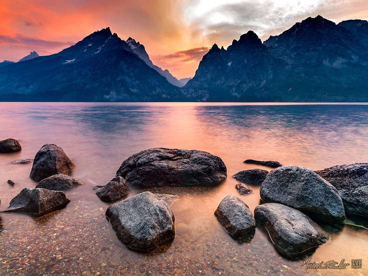 Sunset on Jenny Lake at Grand Tetons National Park, Wyoming, America. Michael Scott Lees fine art photographic prints