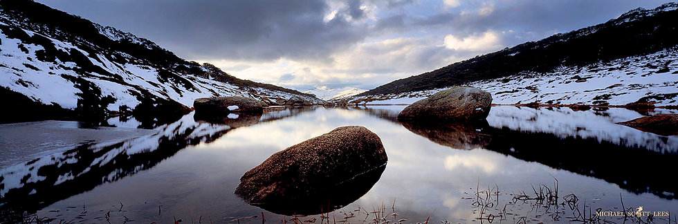 Spencers Creek with snow, Kosciuszko National Park, Australia. Fine Art Photography Prints for Sale by Michael Scott Lees