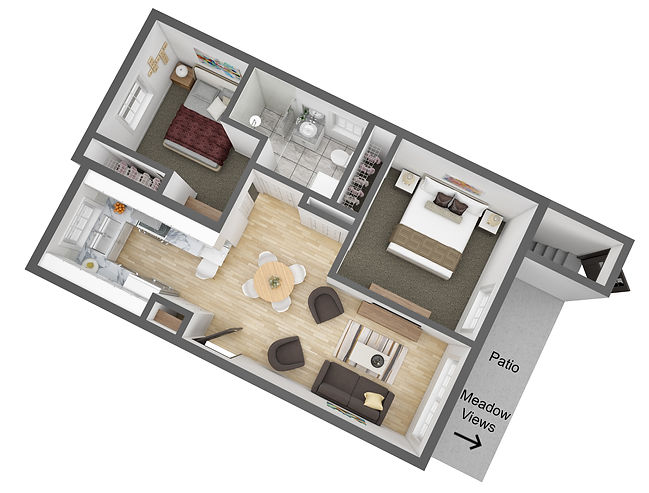3D Rendering - Two Bedroom Cottage - Dow