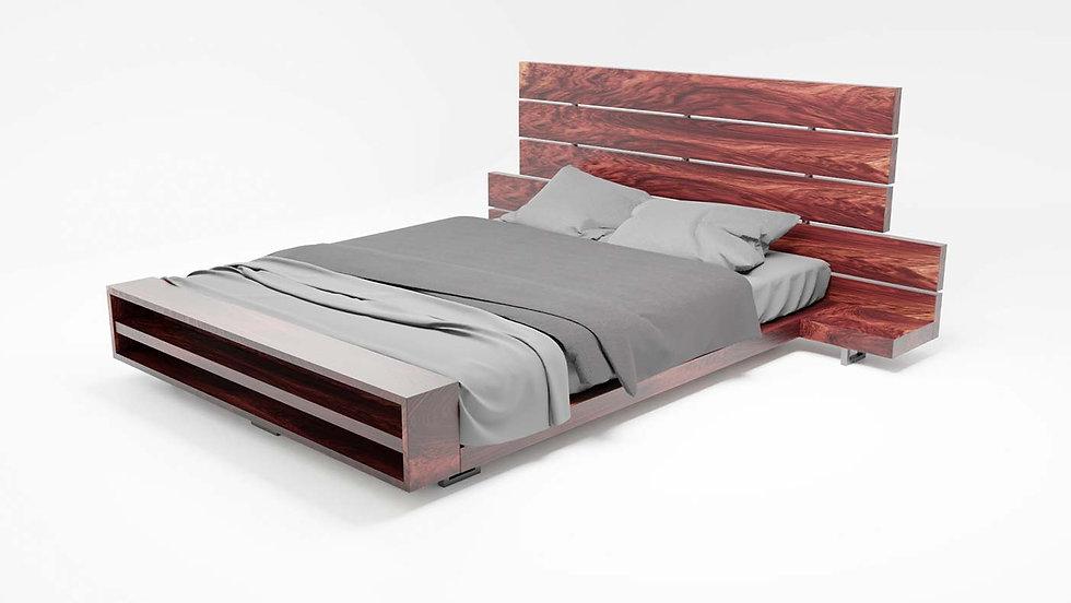 wooden bed, bedroom furniture, bedroom, live edge bed, wood slab bed, modern bed, reclaimed wood bed, Meraki Woods