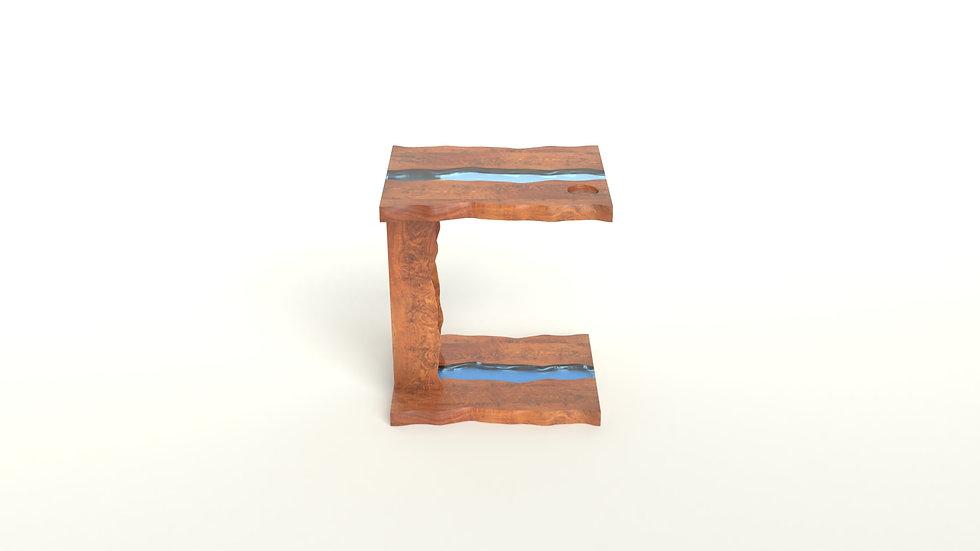 Live edge bedside table, modern c-table, wood slab bedside table, modern accent table, wooden accent table, Meraki Woods