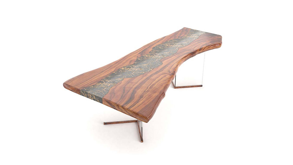 Live edge office table, fine office table, wood slab modern table, Meraki Woods