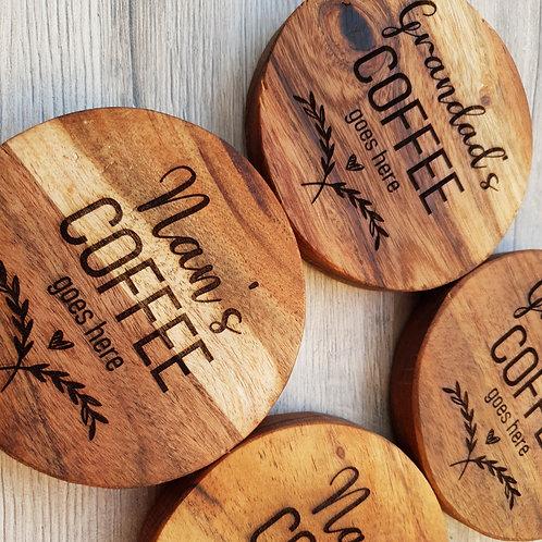 Personalised Coffee Goes Here Coasters (set of 4)