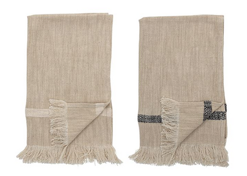 Natural Woven Cotton Tea Towel Set with Fringe + Stripe