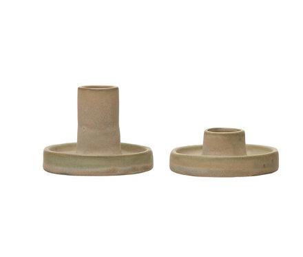 Stoneware Taper Holders Set of 2