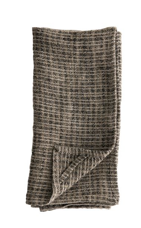 Oversized Woven Natural + Black Linen Tea Towel