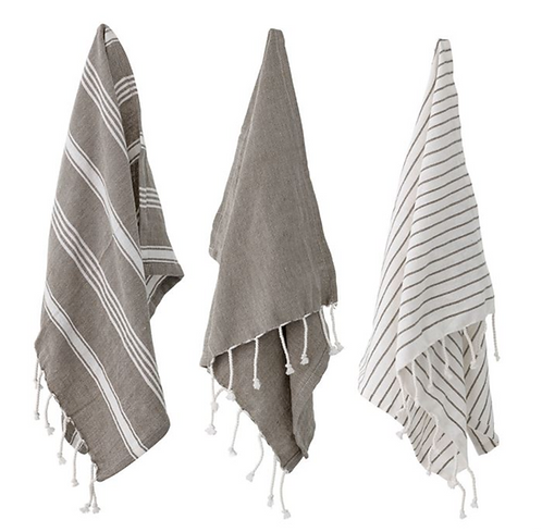 Woven Cotton Tea Towel with Tassels