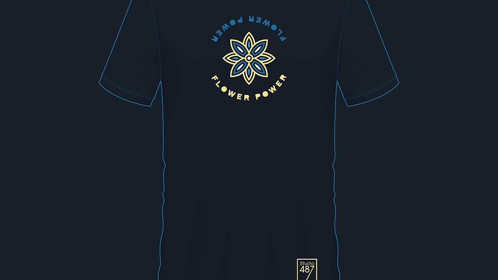Tee-Shirt Flower Power (Dark Blue)