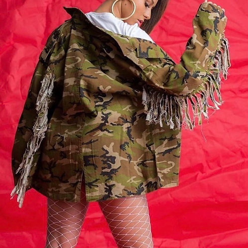 Plus Camo Fringe Jacket