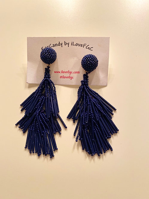 Yana Navy Beaded Tassles