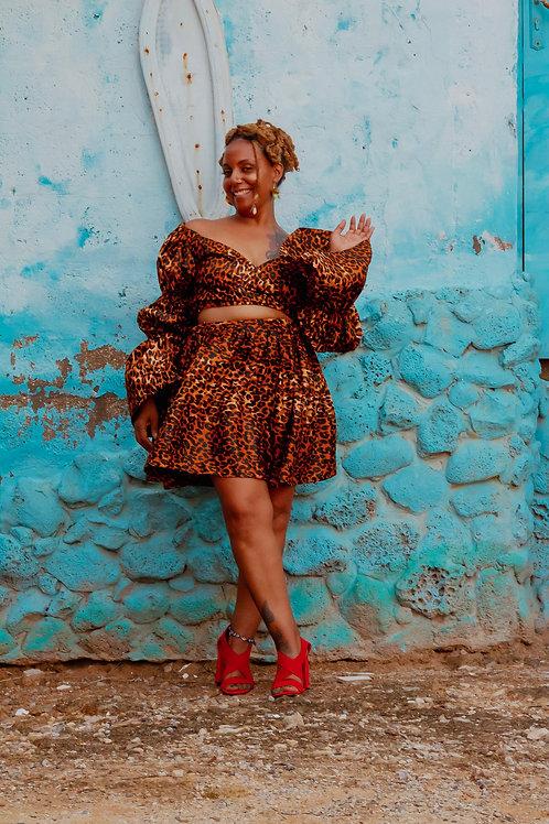 Tie Front Mini Leopard Dress