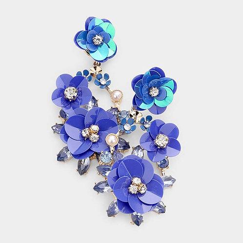 Bloom Flower Rhinestone Pearl Dangle Earrings