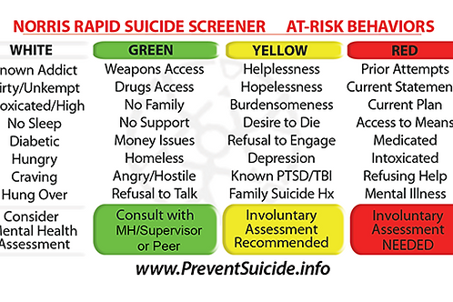 NRSS SUICIDE SCREENER CARDS