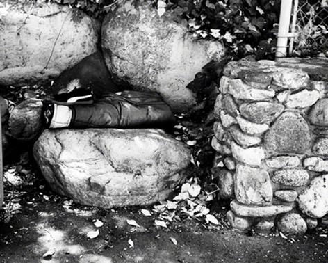 Sleeping bag and rocks