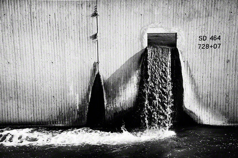 Water pours from a gulley