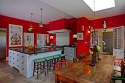 architect london listed house kitchen red