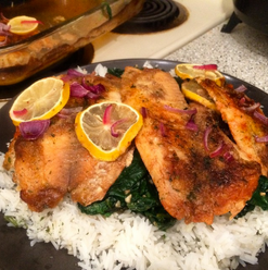 Salmon over Spinach & Rice