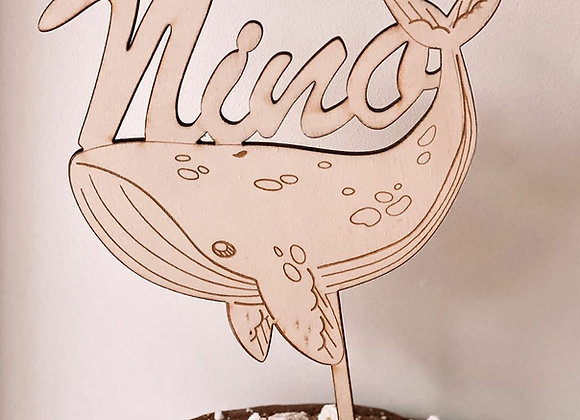 Cake topper baleine