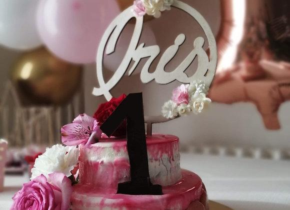 Cake topper prénom encerclé