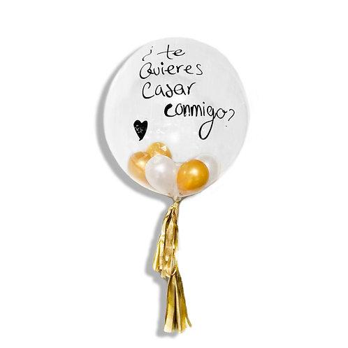 Globo Aniversario Transparente Texto Personalizable