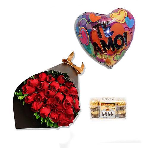 Combo Ramo 24 rosas rojas Mi corazón es tuyo