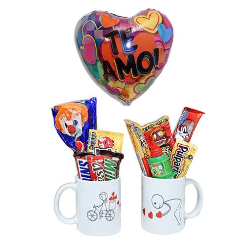 Combo tazas LOVE YOU + globo de amor