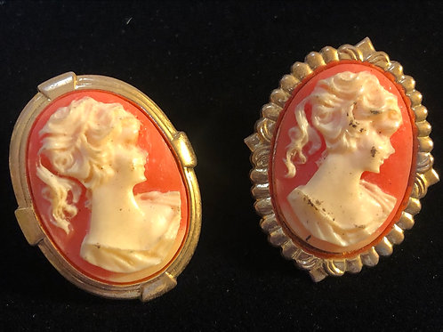 Two Vintage Cameo Pins