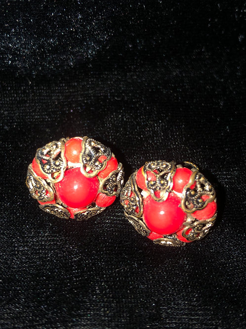 Antique Made In Australia Coral Earrings