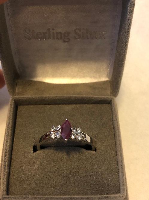 Sterling Silver Ruby July birthstone ring