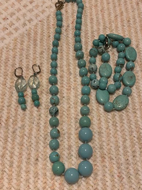 Turquoise Necklace,  Earrings , Bracelet