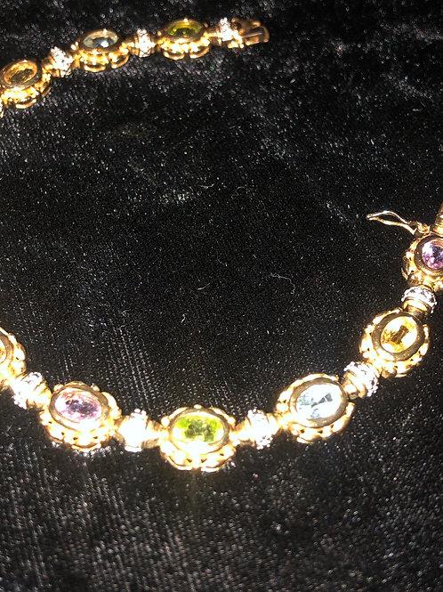 Sterling Tennis Bracelet Mixed Stones