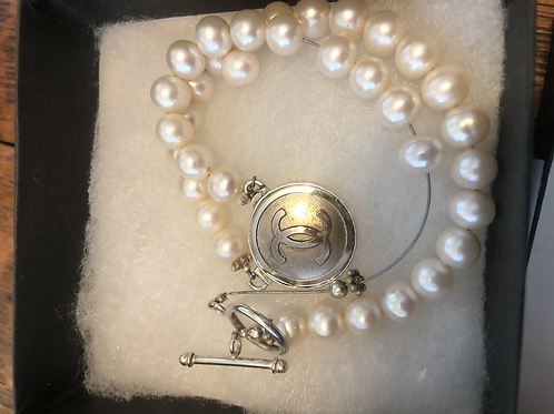 Sterling Silver CC Charm pearl Necklace