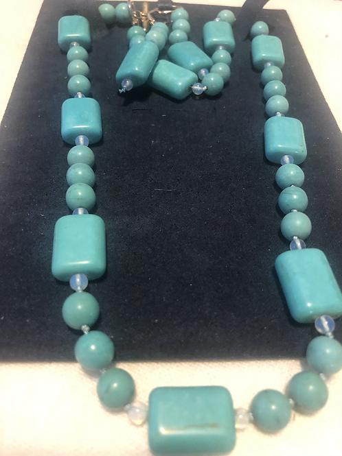 "Turquoise 21"" Necklace Set"