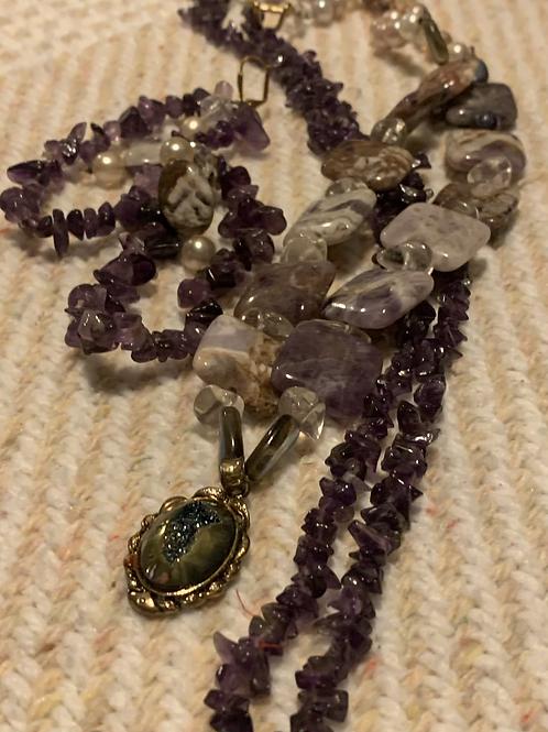Glass Necklace & Pierced Earrings Set