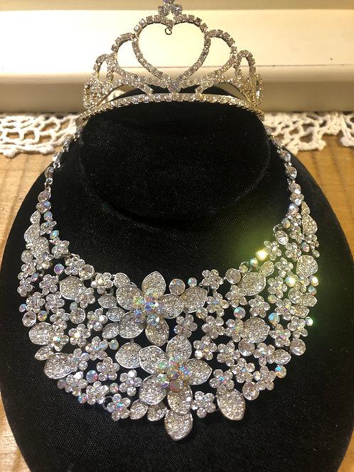 Rhinestone Large Necklace & Tiara