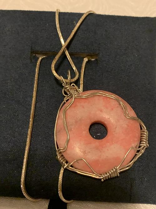 """Pink Gemstone Necklace 21"""""""