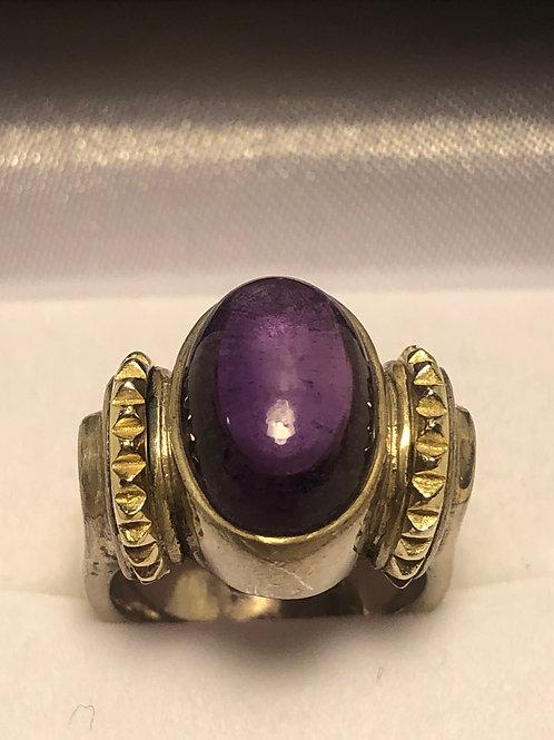 Sterling & 18K Vintage Caviar Signed Amethst Ring