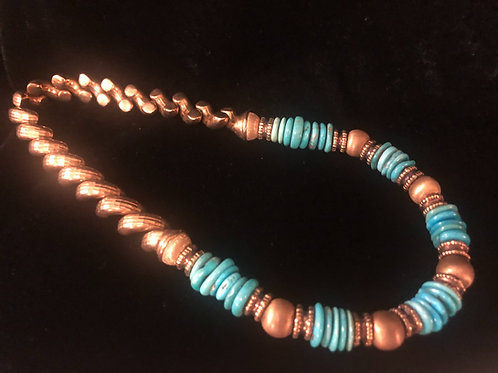Gold Tone .925 Sterling Turquoise Necklace