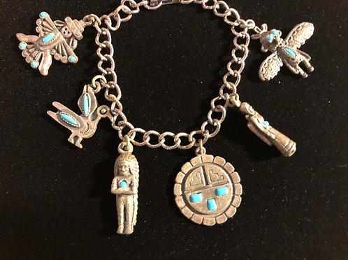 Vintage Silver Native Charm Bracelet