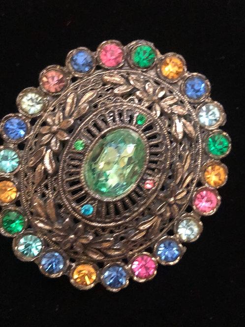Vintage Multi Stone Brooch