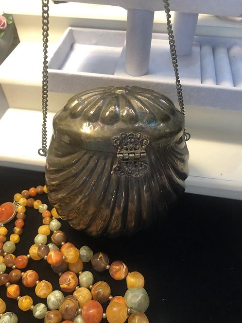 Vintage Brass Shell Shaped Purse