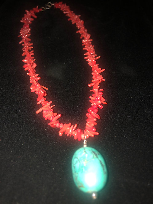 RED CORAL & TURQOISE NECKLACE