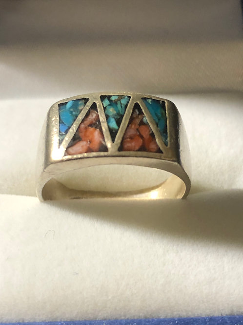 Sterling Turquoise & Coral Ring