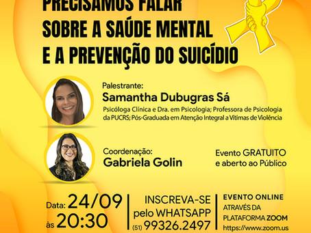 Evento Científico | Precisamos falar sobre a Saúde Mental e a Prevenção do Suicídio